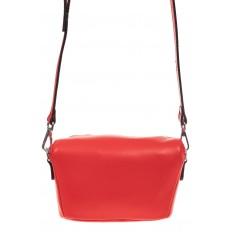 На фото 2 - Модная сумка-ведерко из натуральной кожи, цвет красный