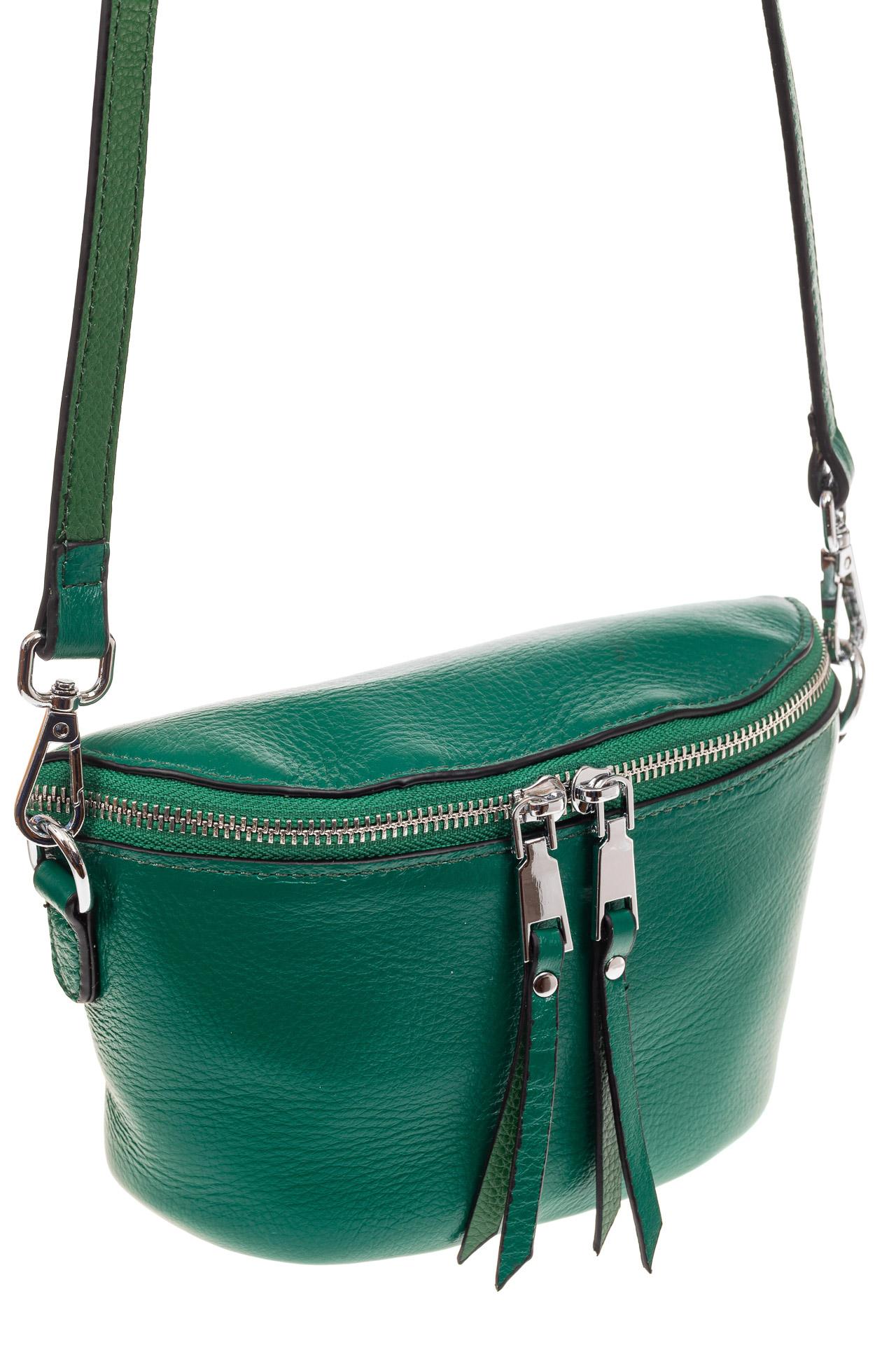 На фото 1 - Модная сумка-ведерко из натуральной кожи, цвет зеленый