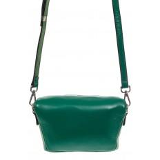 На фото 2 - Модная сумка-ведерко из натуральной кожи, цвет зеленый