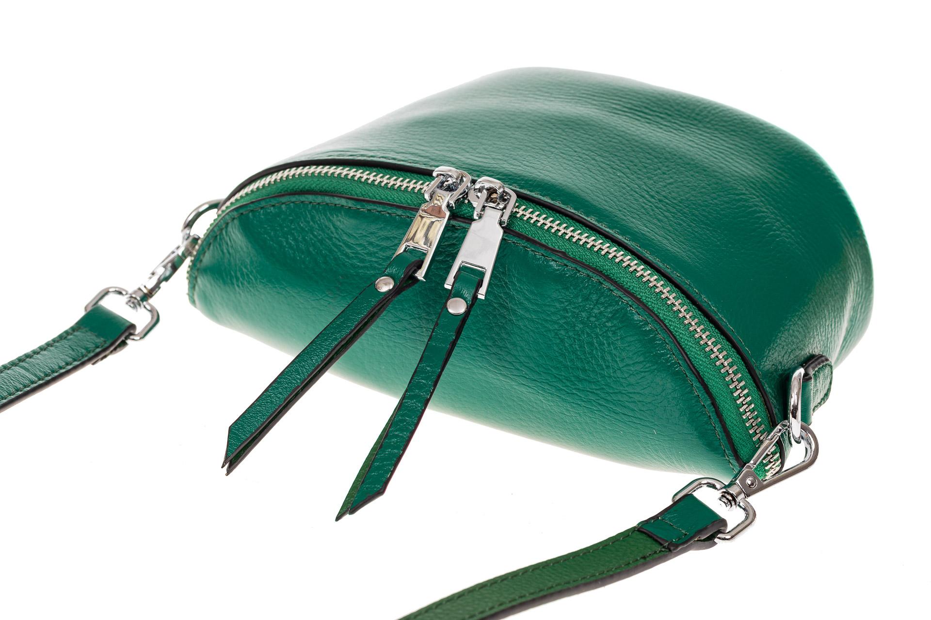 На фото 3 - Модная сумка-ведерко из натуральной кожи, цвет зеленый