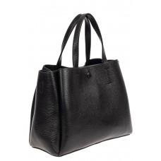 На фото 1 - Маленькая сумка тоут из фактурной натуральной кожи, цвет чёрный