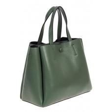 На фото 1 - Маленькая сумка тоут из фактурной натуральной кожи, цвет бирюзовый