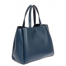 На фото 1 - Маленькая сумка тоут из фактурной натуральной кожи, цвет синий