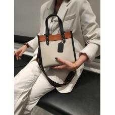 На фото 1 - Женская сумка кросс-боди из натуральной кожи, цвет  молочный+рыжий+черный