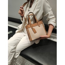 На фото 1 - Женская сумка кросс-боди из натуральной кожи, цвет молочный+бежевый
