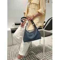 На фото 1 - Женская кросс-боди из фактурной натуральной кожи, цвет синий