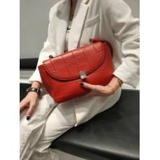 На фото 1 - Женская сумка-трапеция из  из натуральной кожи, цвет  оранжевый