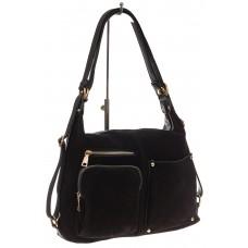 На фото 1 - Сумка-рюкзак из натуральной замши, цвет черный