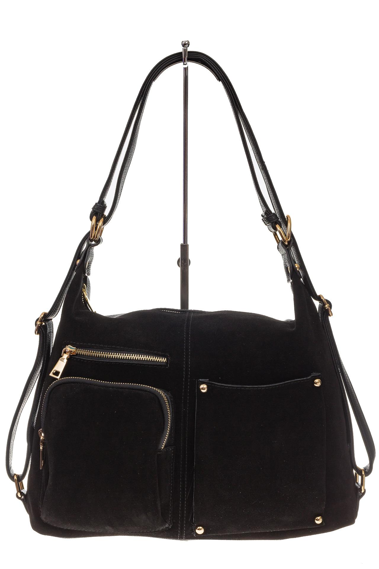 На фото 2 - Сумка-рюкзак из натуральной замши, цвет черный