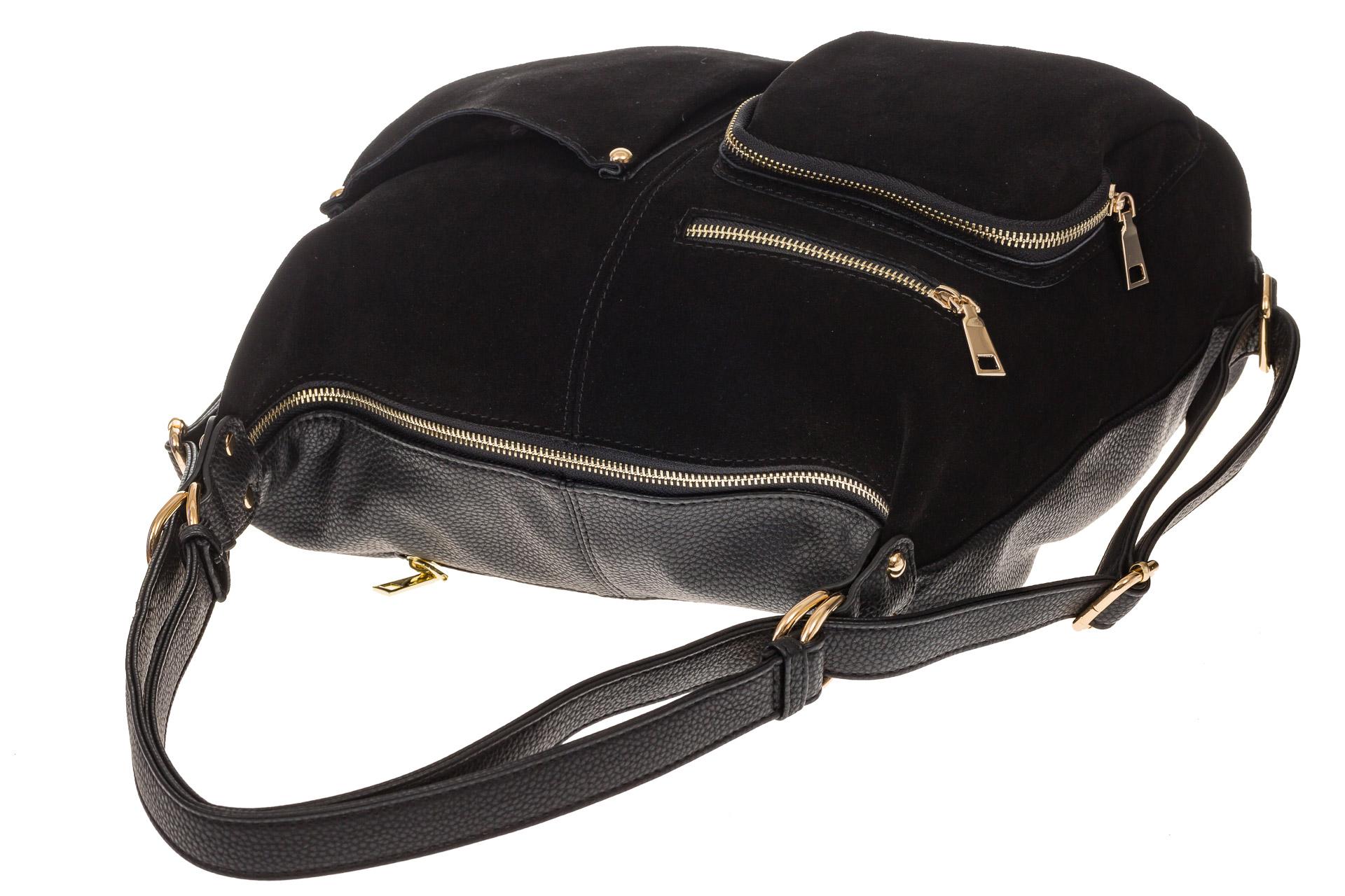 На фото 4 - Сумка-рюкзак из натуральной замши, цвет черный