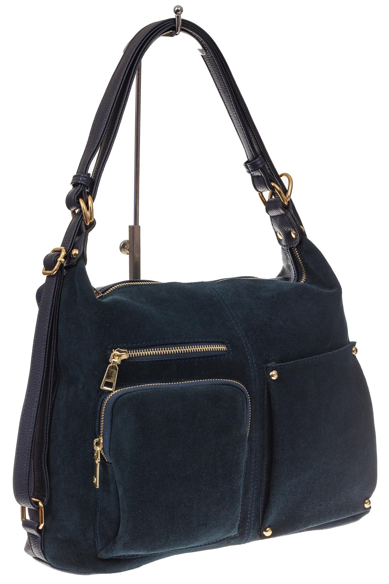 На фото 1 - Сумка-рюкзак из натуральной замши, цвет синий
