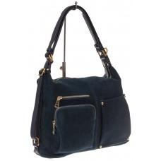 На фото 1 - Сумка-рюкзак из натуральной замши, цвет син...