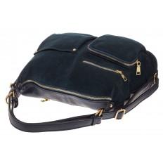 На фото 4 - Сумка-рюкзак из натуральной замши, цвет синий