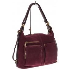 На фото 1 - Сумка-рюкзак из натуральной замши, цвет бор...