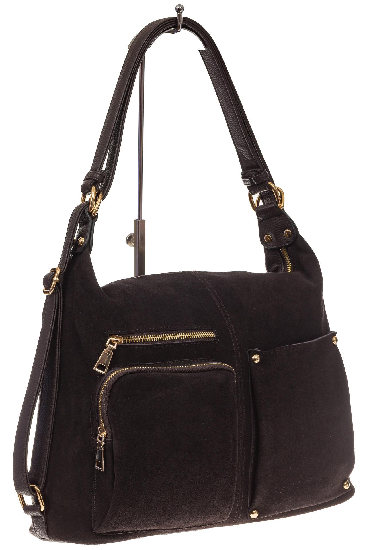 На фото 1 - Сумка-рюкзак из натуральной замши, цвет кофе