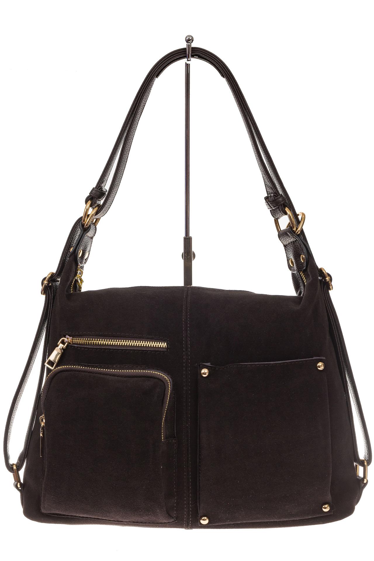 На фото 2 - Сумка-рюкзак из натуральной замши, цвет кофе
