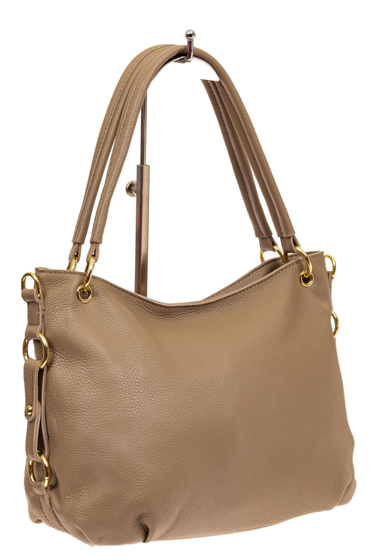 На фото 1 - Большая мягкая сумка из натуральной кожи, цвет бежевый