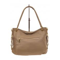 На фото 2 - Большая мягкая сумка из натуральной кожи, цвет бежевый