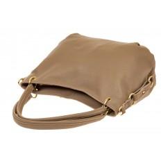 На фото 3 - Большая мягкая сумка из натуральной кожи, цвет бежевый