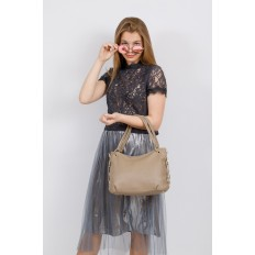 На фото 4 - Большая мягкая сумка из натуральной кожи, цвет бежевый