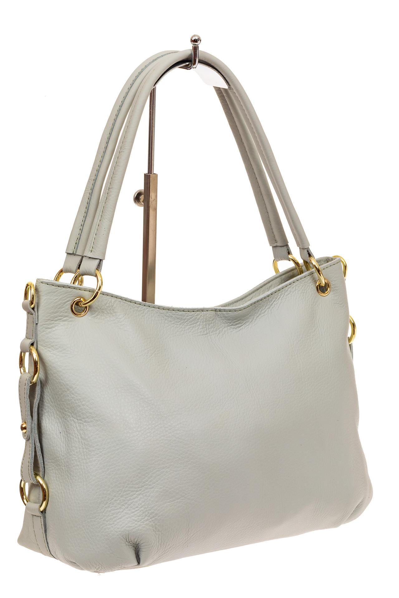 На фото 1 - Большая мягкая сумка из натуральной кожи, цвет бело-голубой