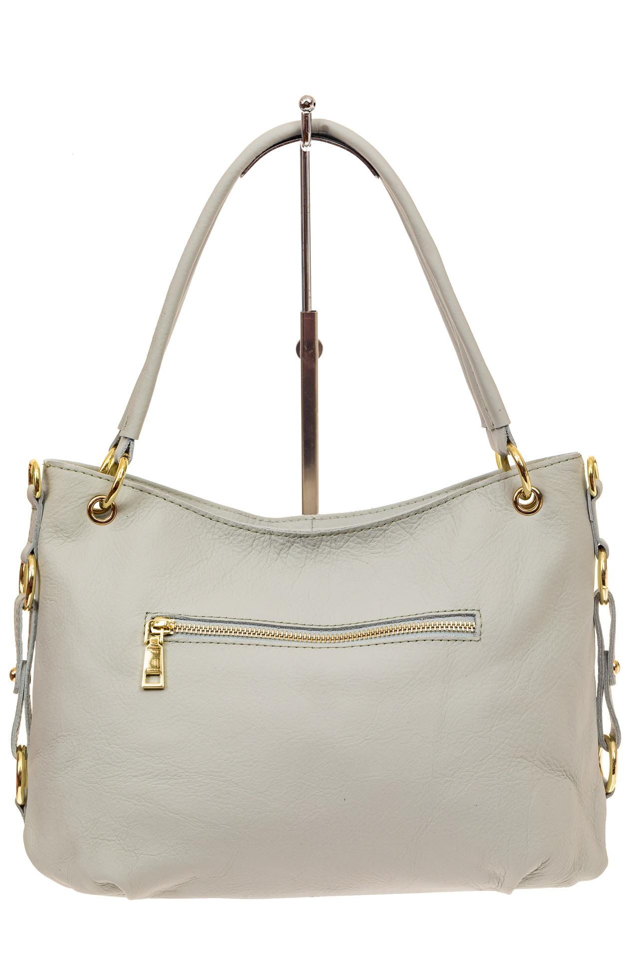 На фото 2 - Большая мягкая сумка из натуральной кожи, цвет бело-голубой