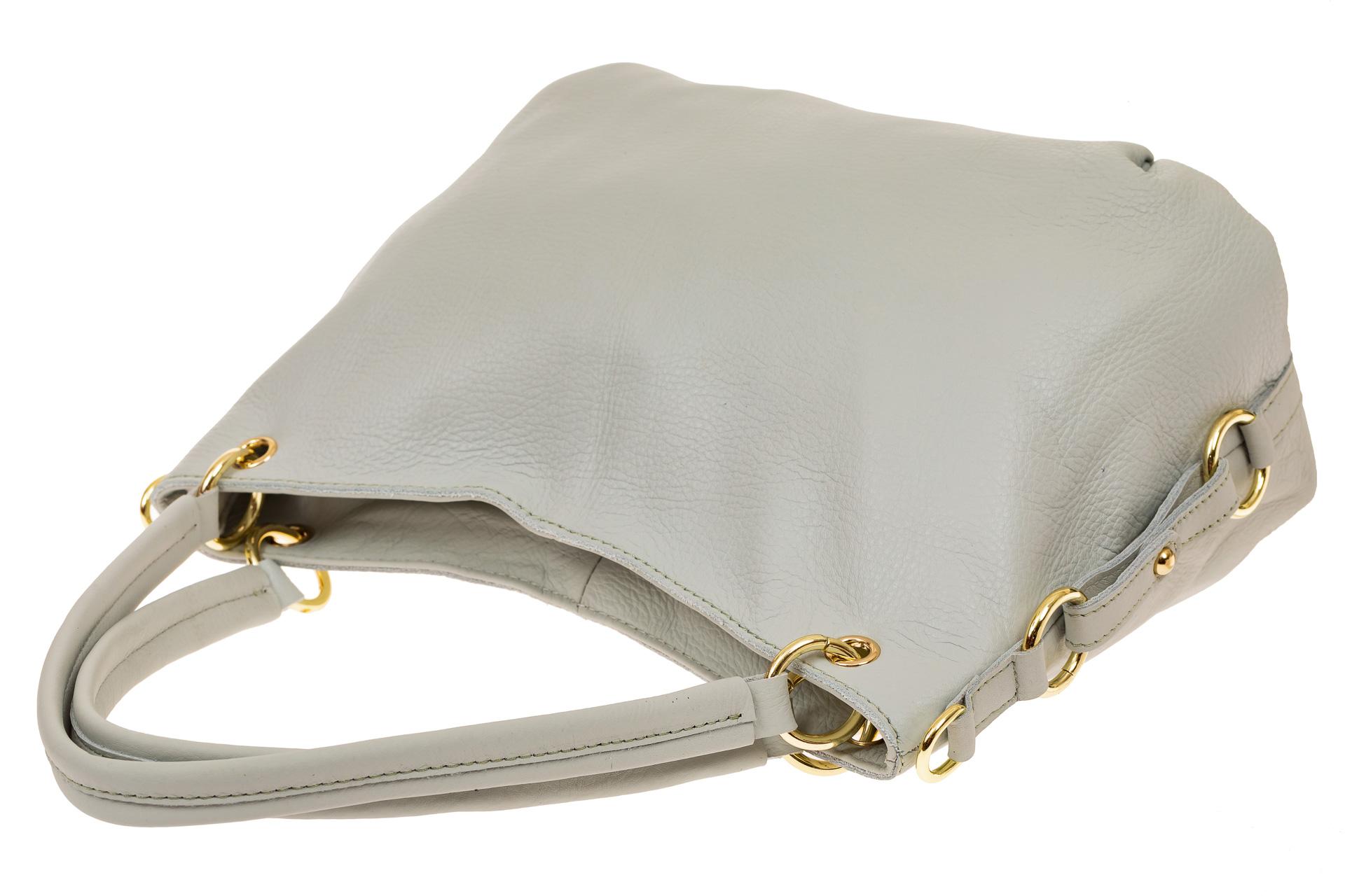 На фото 3 - Большая мягкая сумка из натуральной кожи, цвет бело-голубой