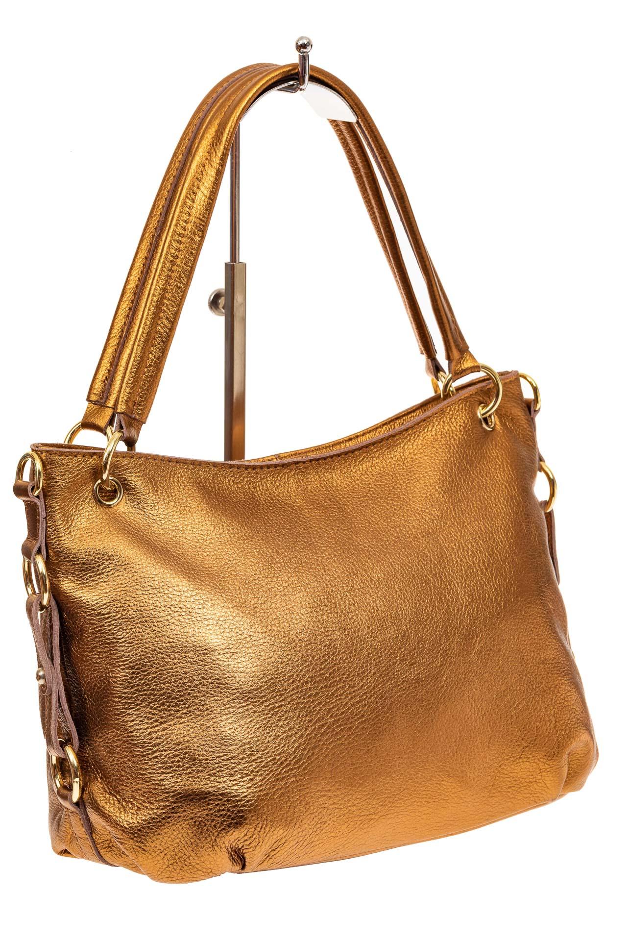 На фото 1 - Большая мягкая сумка из натуральной кожи, цвет золото