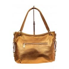 На фото 2 - Большая мягкая сумка из натуральной кожи, цвет золото