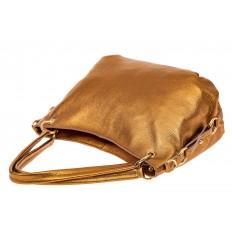 На фото 3 - Большая мягкая сумка из натуральной кожи, цвет золото