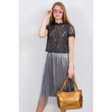 На фото 4 - Большая мягкая сумка из натуральной кожи, цвет золото
