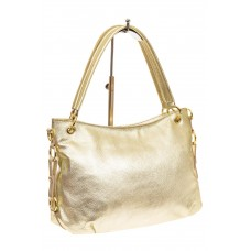 На фото 1 - Большая мягкая сумка из натуральной кожи, цвет светлое золото