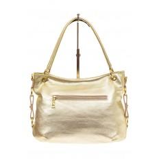 На фото 2 - Большая мягкая сумка из натуральной кожи, цвет светлое золото