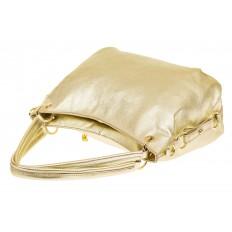 На фото 3 - Большая мягкая сумка из натуральной кожи, цвет светлое золото