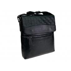 На фото 1 - Кожаная мужская сумка под документы, цвет чёрный