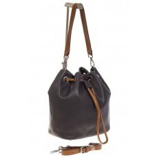 На фото 1 - Женская сумка-торба из натуральной кожи, цвет серый 8137