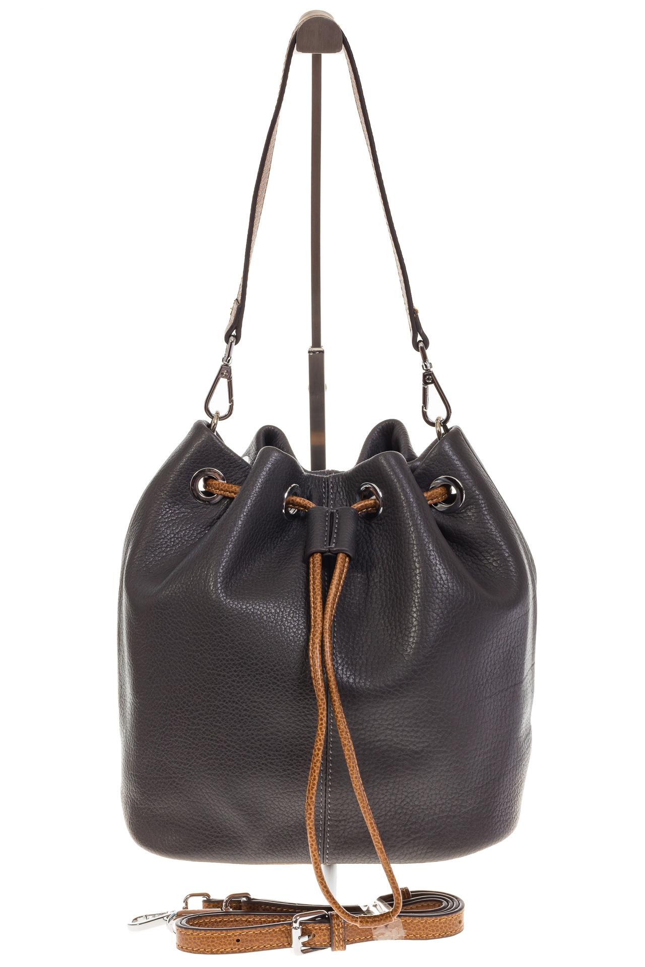 На фото 2 - Женская сумка-торба из натуральной кожи, цвет серый 8137