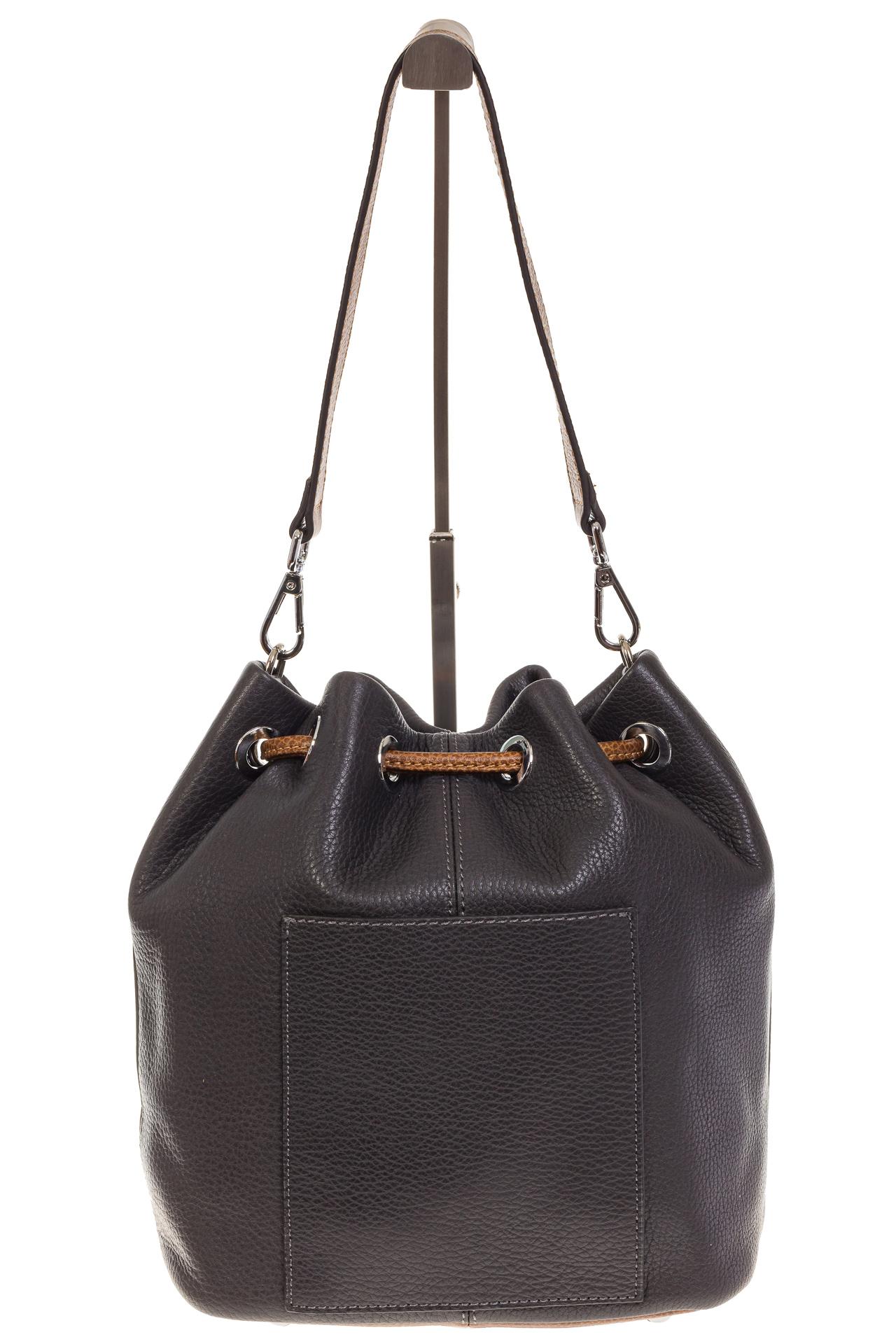 На фото 3 - Женская сумка-торба из натуральной кожи, цвет серый 8137