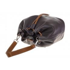 На фото 4 - Женская сумка-торба из натуральной кожи, цвет серый 8137