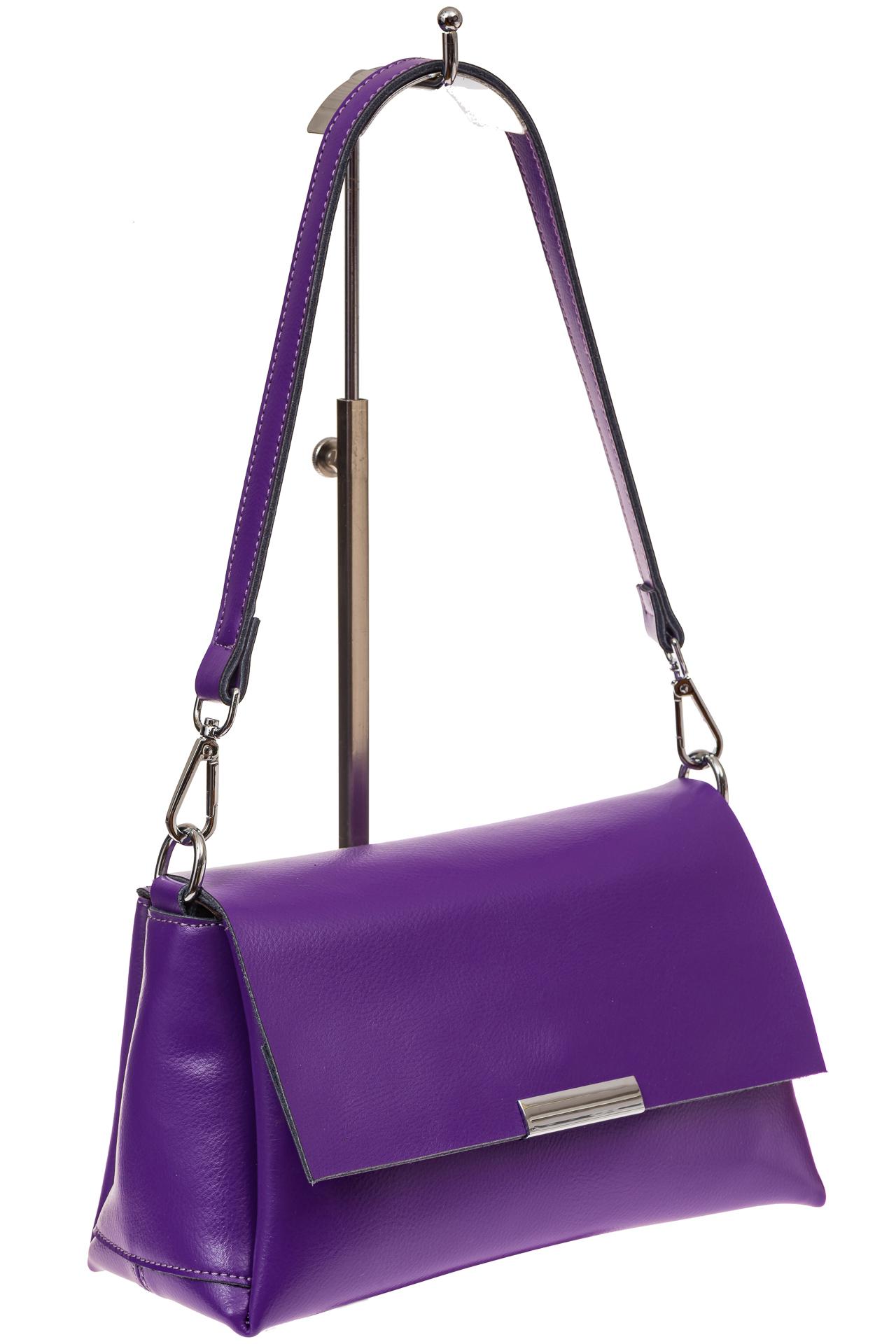 На фото 1 - Женская сумка багет из натуральной кожи, цвет фиолетовый