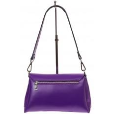 На фото 2 - Женская сумка багет из натуральной кожи, цвет фиолетовый