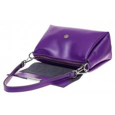 На фото 3 - Женская сумка багет из натуральной кожи, цвет фиолетовый