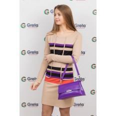 На фото 4 - Женская сумка багет из натуральной кожи, цвет фиолетовый