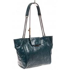 На фото 1 - Кожаная сумка женская стеганая, сине-серая