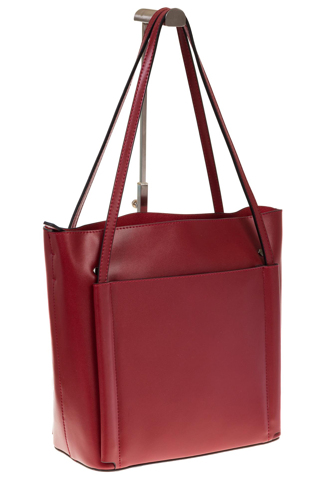 на фото Сумка shopper бордового цвета из натуральной кожи 8158MK5
