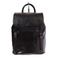 На фото 2 - Рюкзак-торба из натуральной кожи, цвет черный