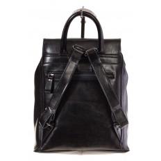 На фото 3 - Рюкзак-торба из натуральной кожи, цвет черный