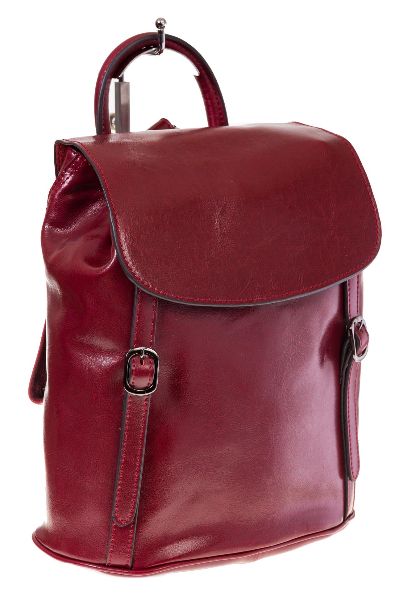 Купить оптом рюкзак-торба из натуральной кожи, цвет бордо, фото