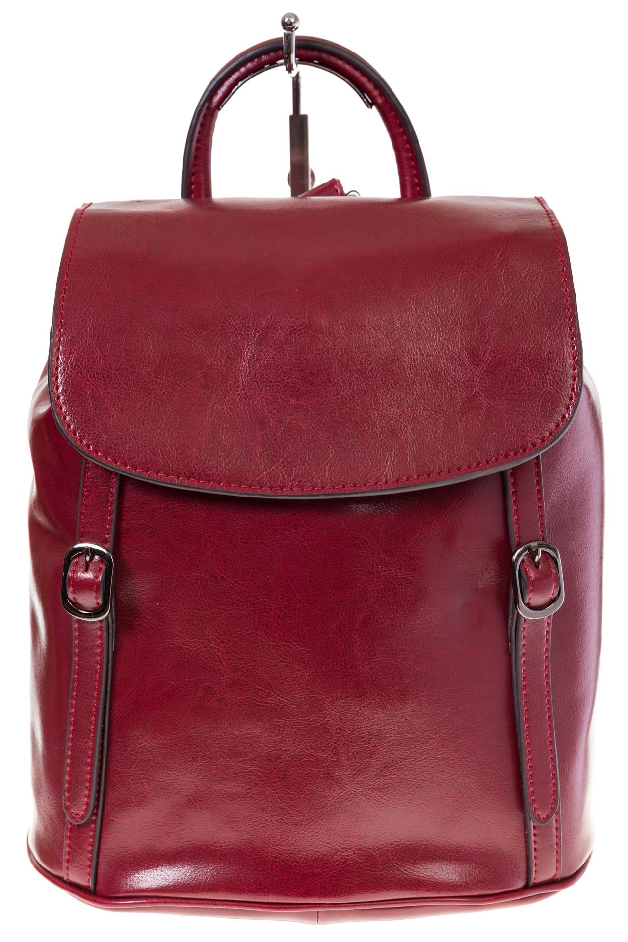 На фото 2 - Рюкзак-торба из натуральной кожи, цвет бордо