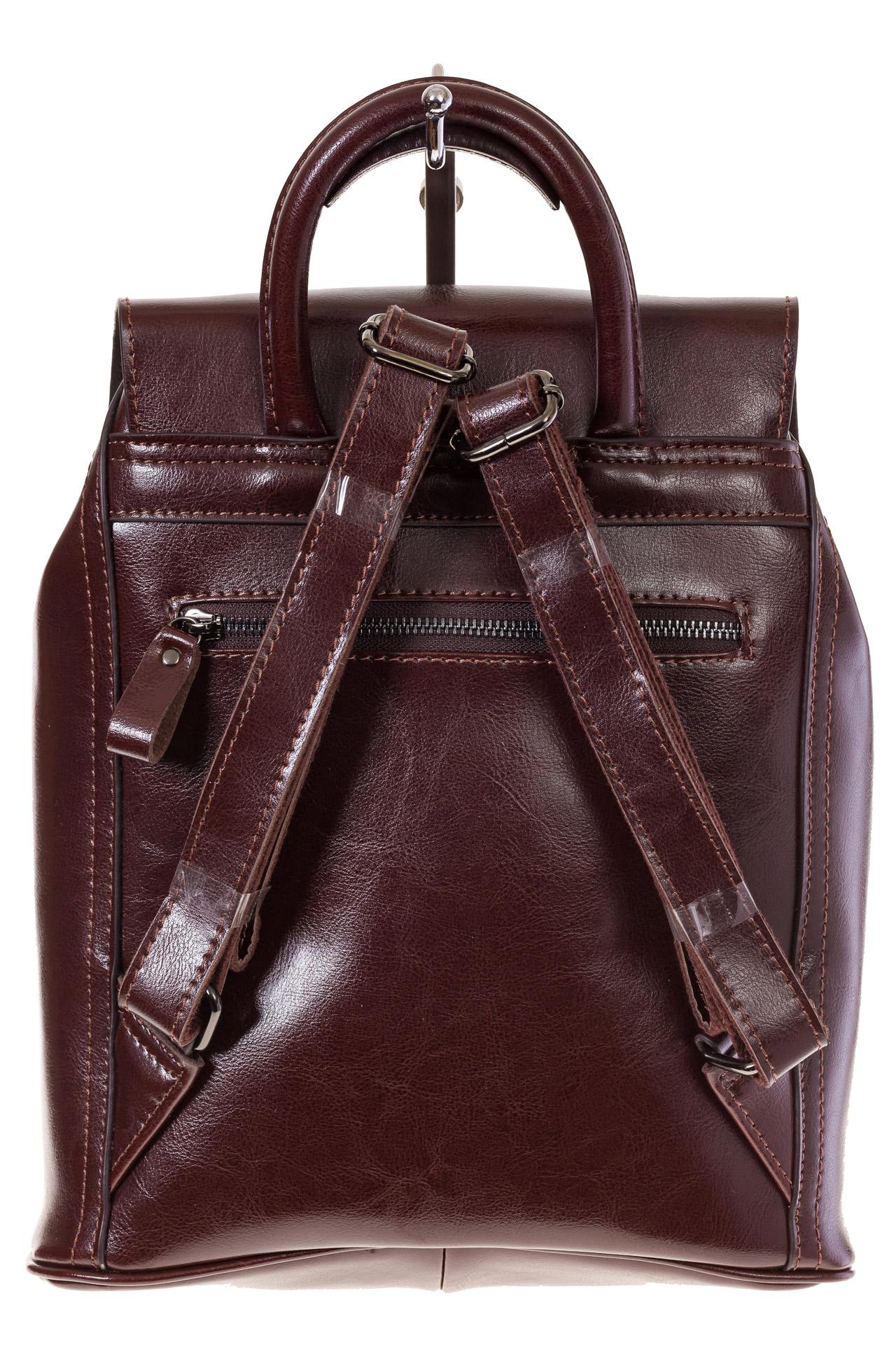 На фото 3 - Рюкзак-торба из натуральной кожи, цвет коричневый